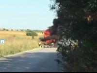 Комбайн горя на пътя между село Рупци и Червен бряг /видео/