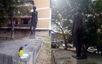 Млади музикални таланти почистиха надраскания паметник на Лиляна Бърдарова в Плевен